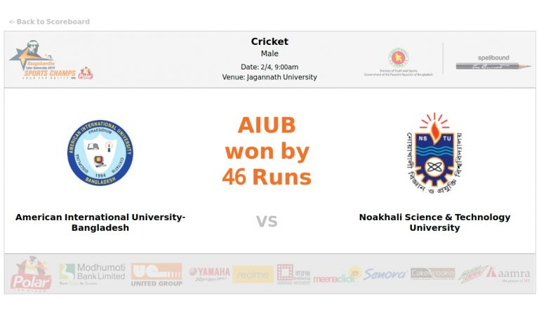American International University of Bangladesh VS Noakhali Science & Technology University
