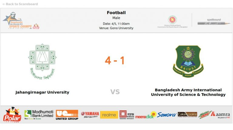 Jahangirnagar University VS Bangladesh Army International University of Science and Technology